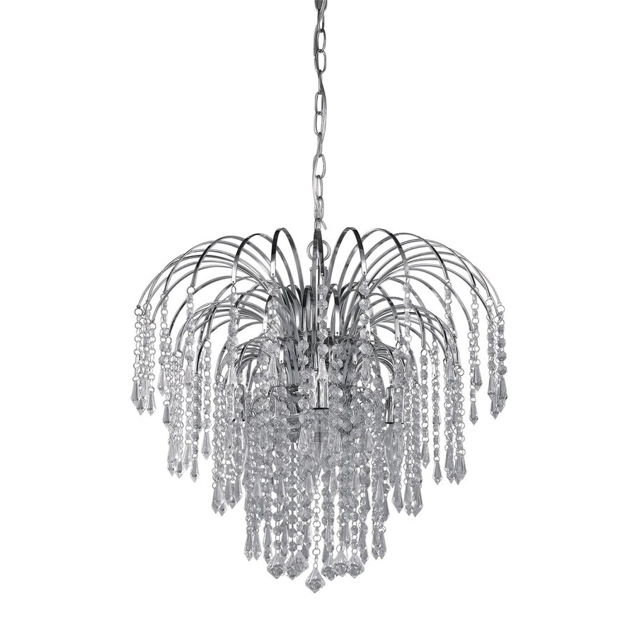 Shop Canarm Olivia 19 In 4 Light Chrome Crystal Crystal Waterfall Pertaining To Most Up To Date 4 Light Chrome Crystal Chandeliers (View 16 of 20)