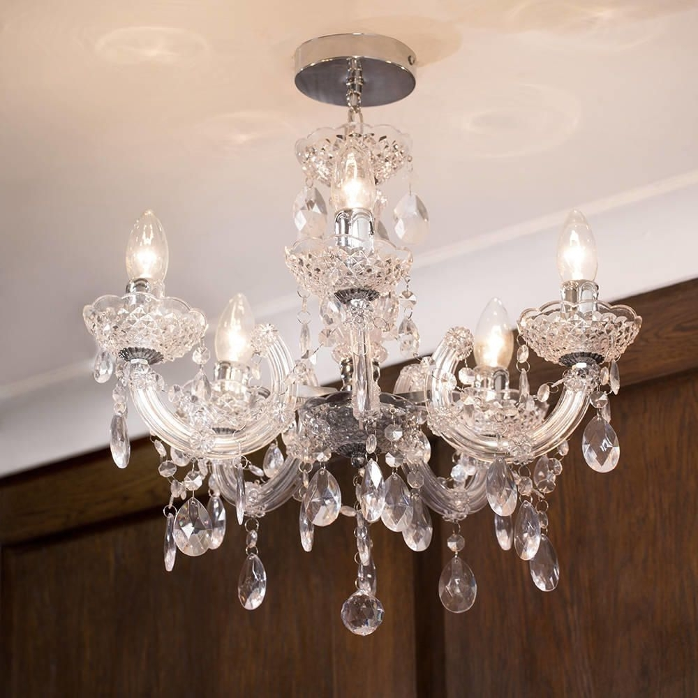 Short Chandelier Regarding Latest Marie Therese Chandelier 5 Light Dual Mount – Chrome From Litecraft (View 12 of 20)
