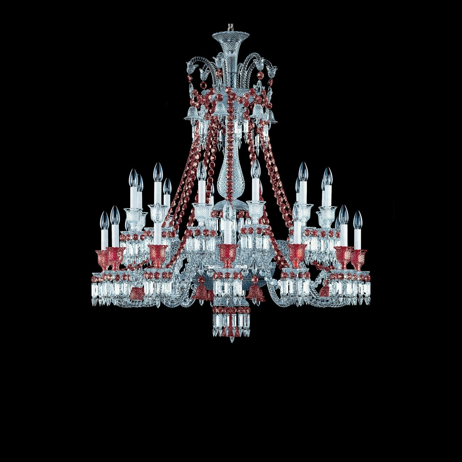 Short Chandelier Regarding Newest Chandelier Clear And Red 24L Baccarat Zenith  (View 13 of 20)
