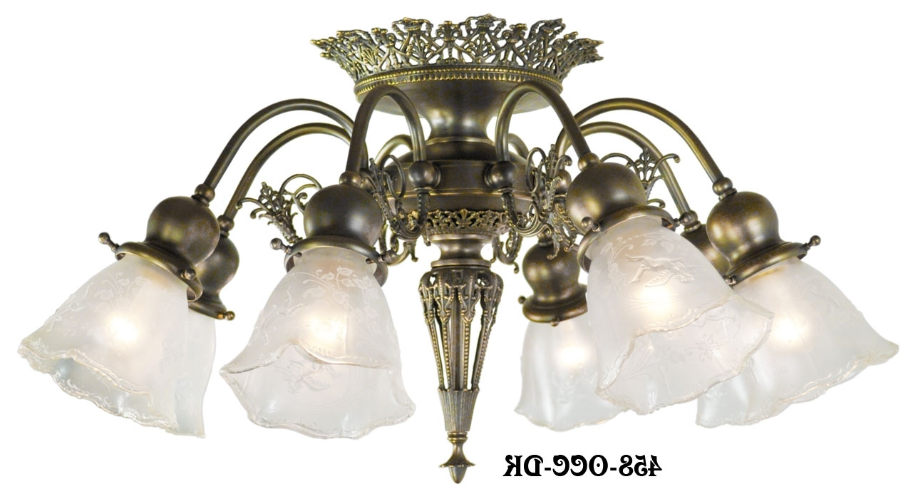 Short Chandelier With Regard To Best And Newest Vintage Hardware & Lighting – 8 Light Pierced Brass Short Ceiling (View 14 of 20)