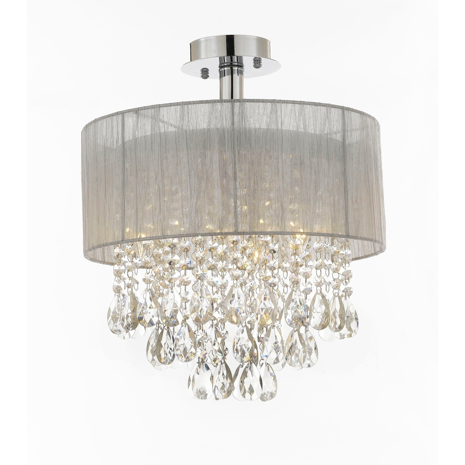 """Silver And Crystal 15""""w Ceiling Light Chandelier Pendant Flush Mount In Most Current Flush Chandelier (View 18 of 20)"""