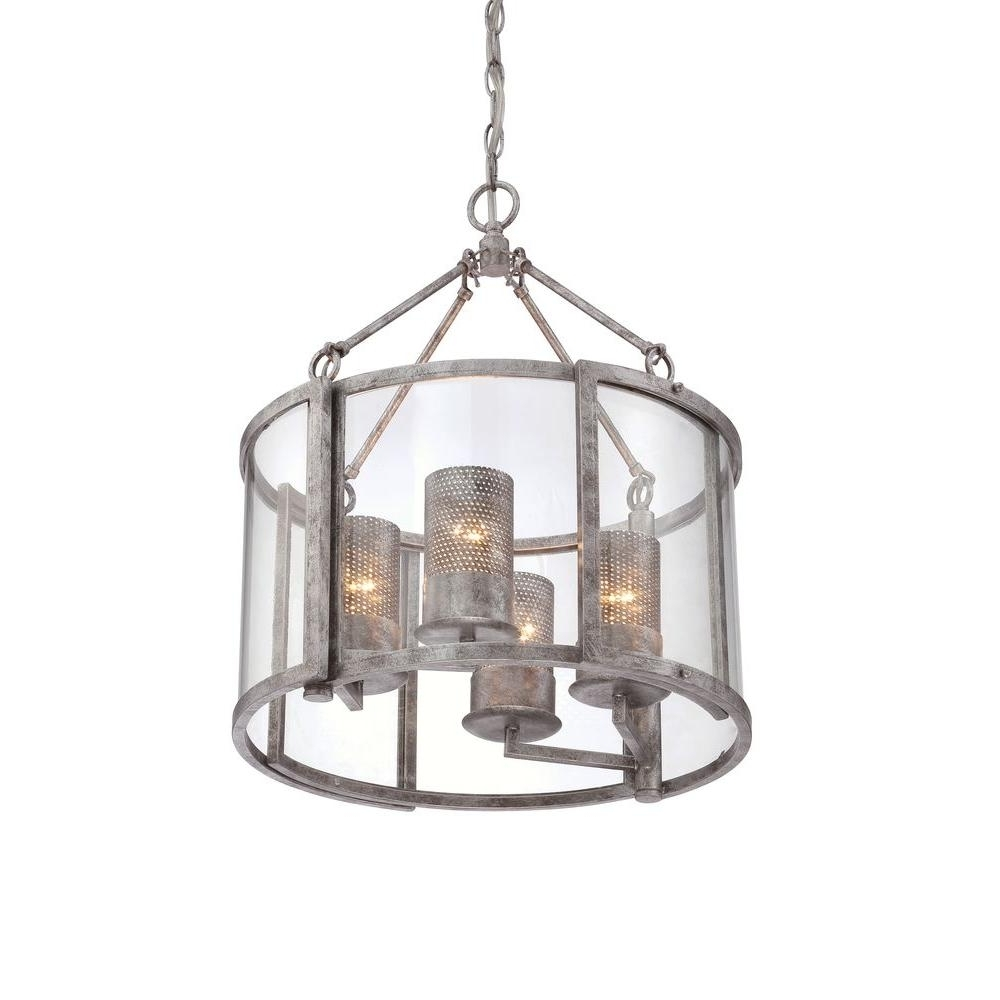 Silver Chandeliers Within Most Popular Varaluz Jackson 4 Light Antique Silver Chandelier With Arched (View 16 of 20)