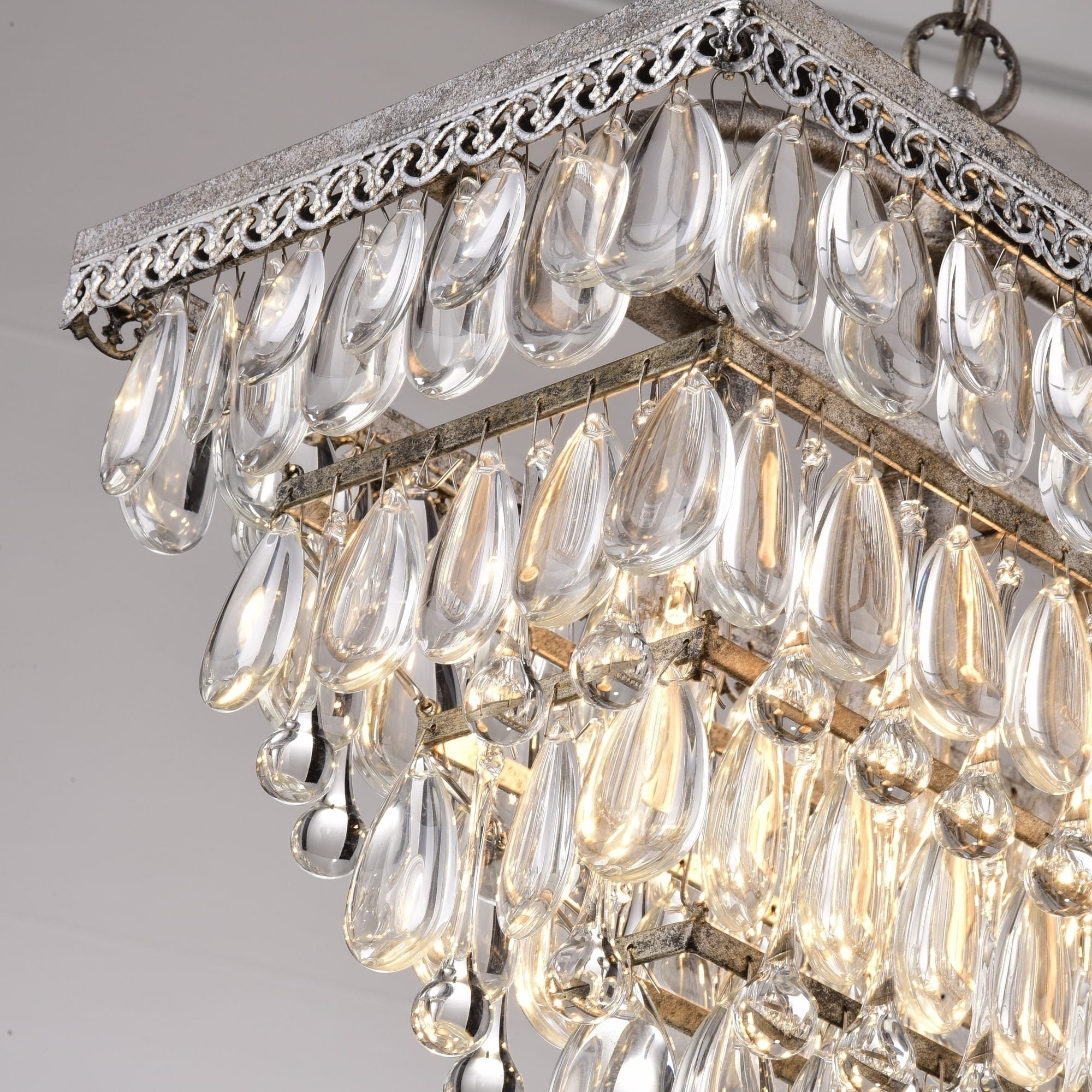Silver Orchid Taylor Antique Silver 6 Light Rectangular Glass With Preferred Glass Droplet Chandelier (View 15 of 20)