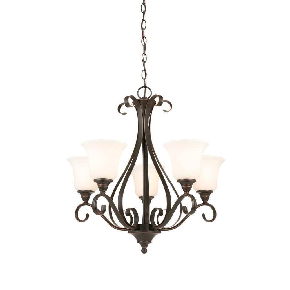 Small Bronze Chandelier Regarding Most Recently Released Bronze – Chandeliers – Lighting – The Home Depot (View 19 of 20)