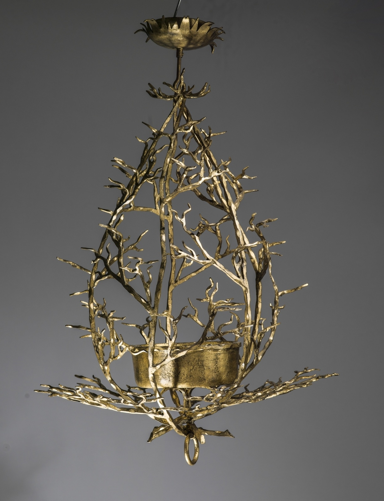 Small Wrought Iron 'twig' Chandelier In Warm Gold Leaf Finish (T3451 Regarding Fashionable Gold Leaf Chandelier (View 19 of 20)
