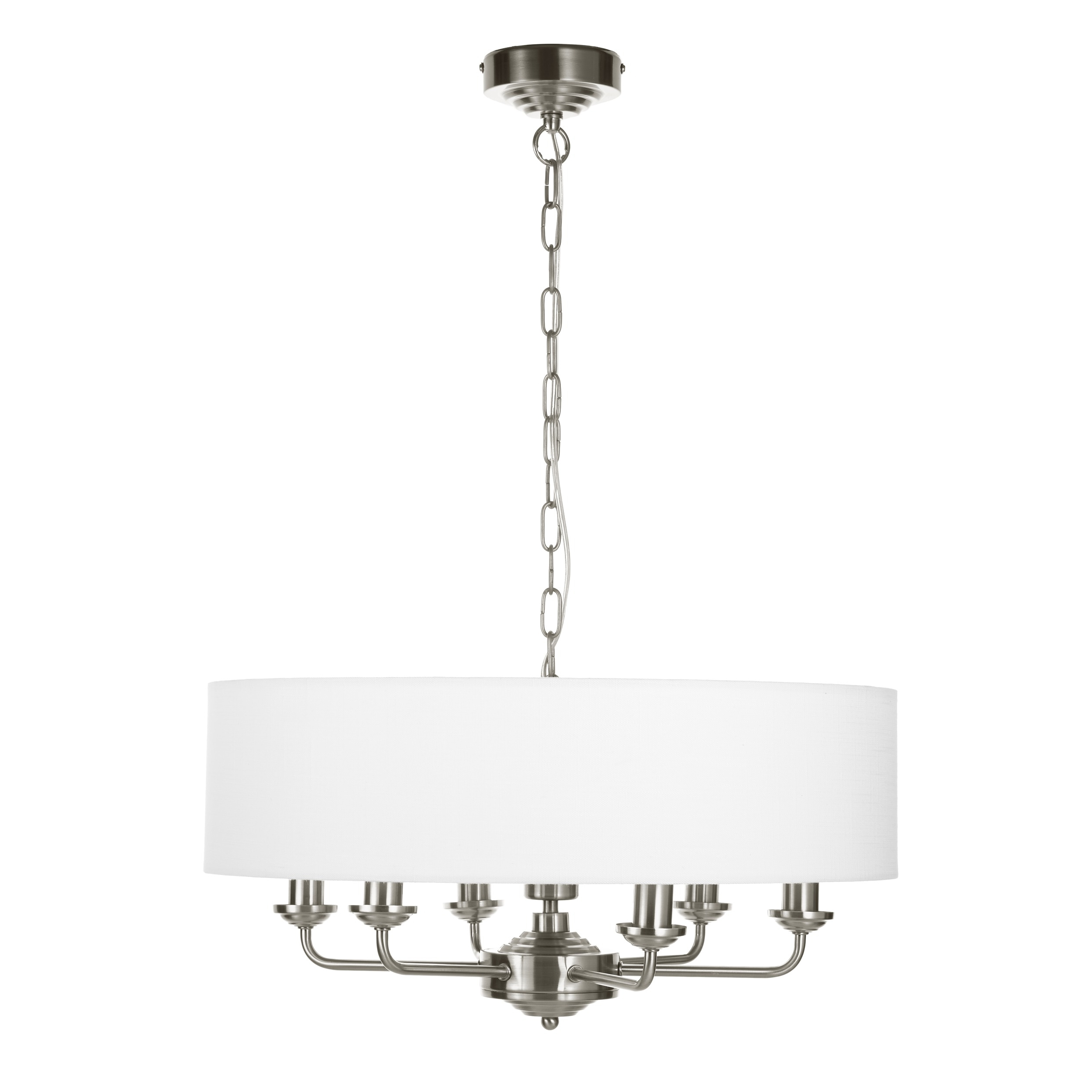 Sorrento Chrome 6 Arm Chandelier With White Shade (View 17 of 20)
