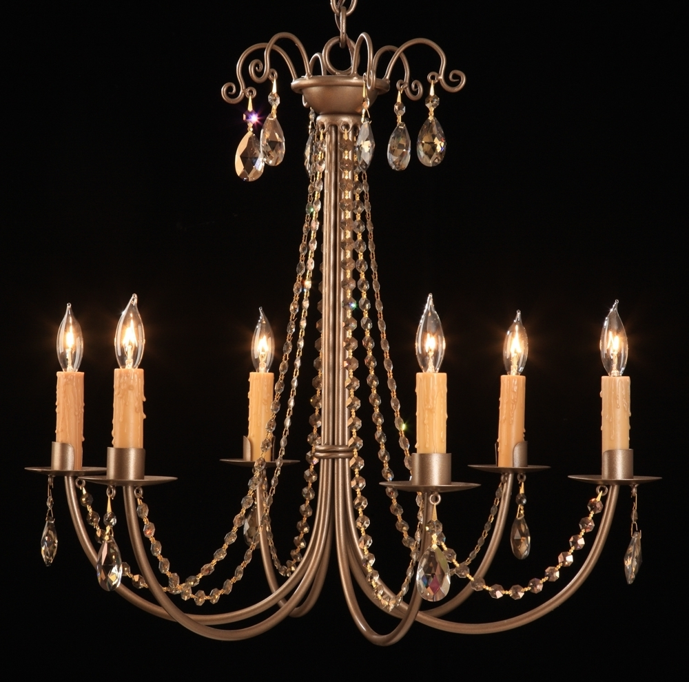 Steel 2251 Crystal Sierra 6 Candle Chandelier Regarding Well Known Candle Chandelier (View 11 of 20)