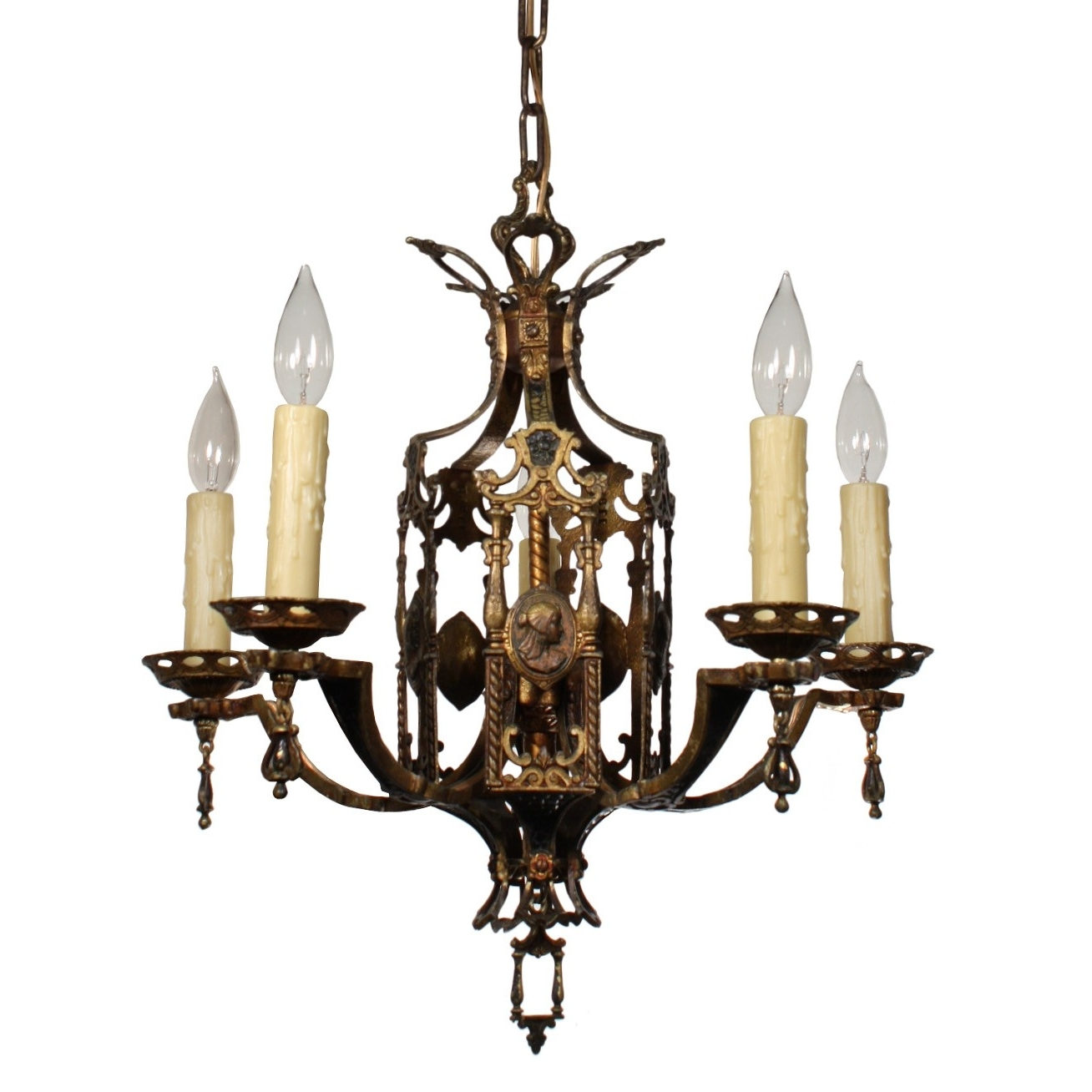 Stunning Antique Egyptian Revival Figural Chandelier With Cameos, C With Regard To Most Recent Egyptian Chandelier (View 16 of 20)