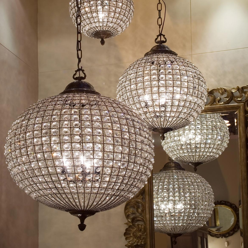 Stunning Large Crystal Ball Chandelier Beautiful Globe (View 19 of 20)