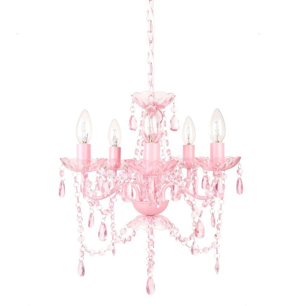 Tadpoles 5 Light Pink Sapphire Chandelier Cch5pl004 – The Home Depot With Best And Newest Pink Plastic Chandeliers (View 2 of 20)