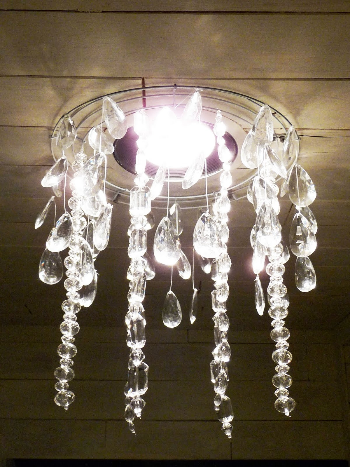 The Happy Homebodies: Tutorial: Diy Faux Crystal Chandelier Inside Well Liked Faux Crystal Chandeliers (View 2 of 20)