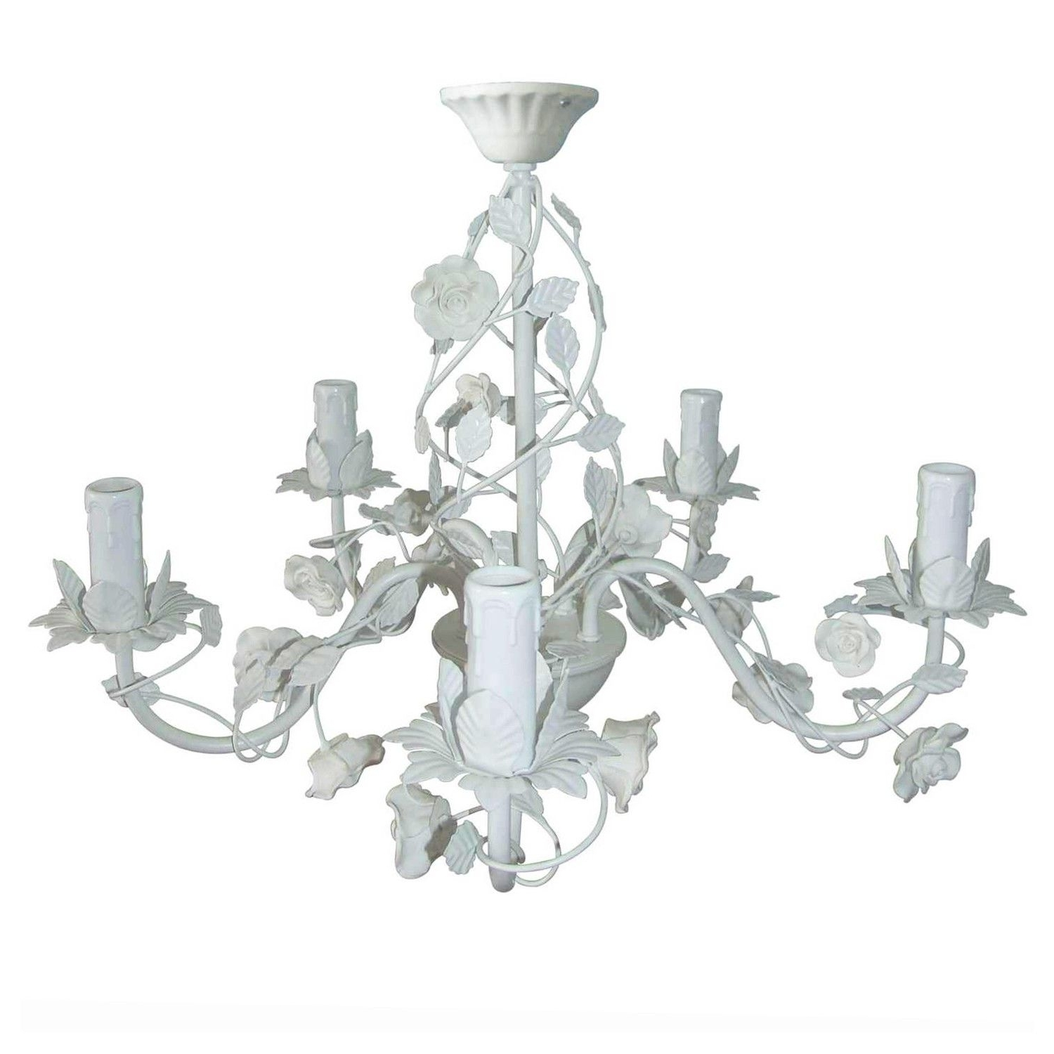This Cream Rose 5 Arm Chandelier Is A Beautiful Light Fixture In With Well Known Cream Chandelier Lights (View 8 of 20)