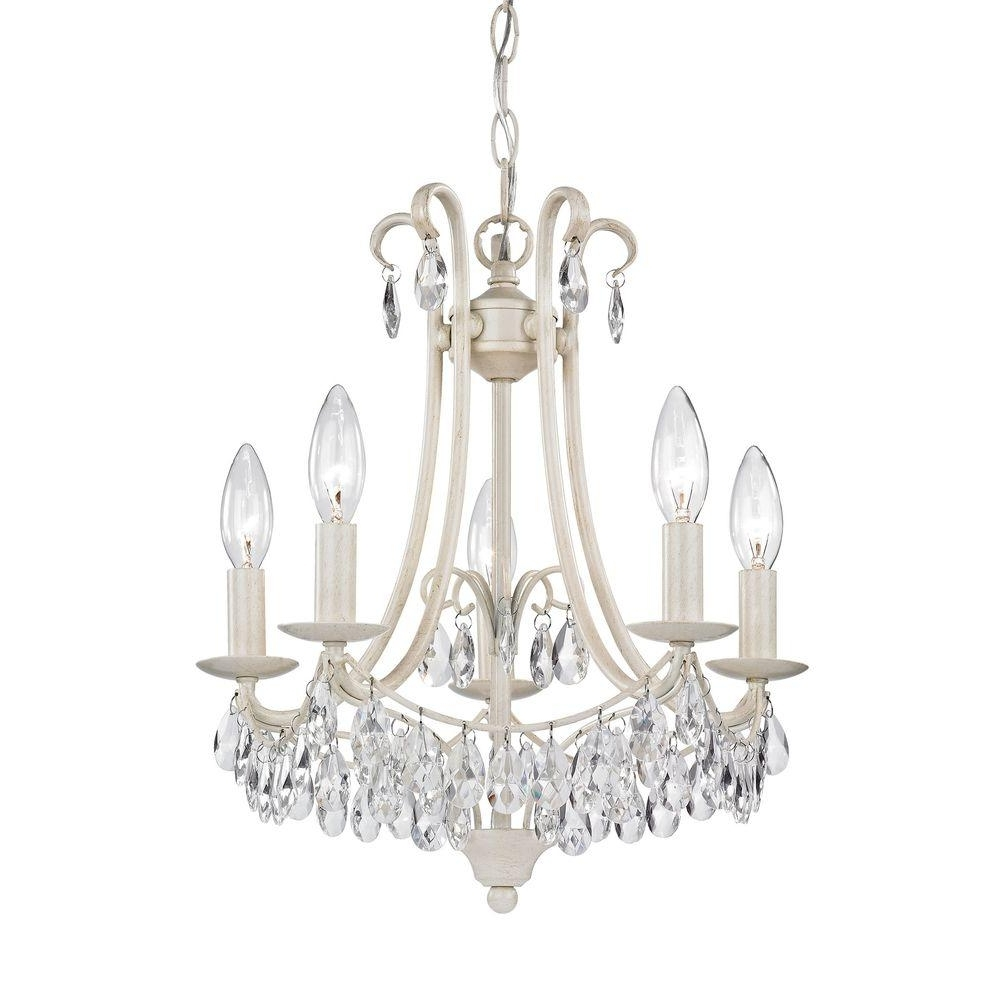 Titan Lighting 5 Light Antique Cream And Clear Mini Chandelier Tn Inside Fashionable Cream Chandelier (View 8 of 20)