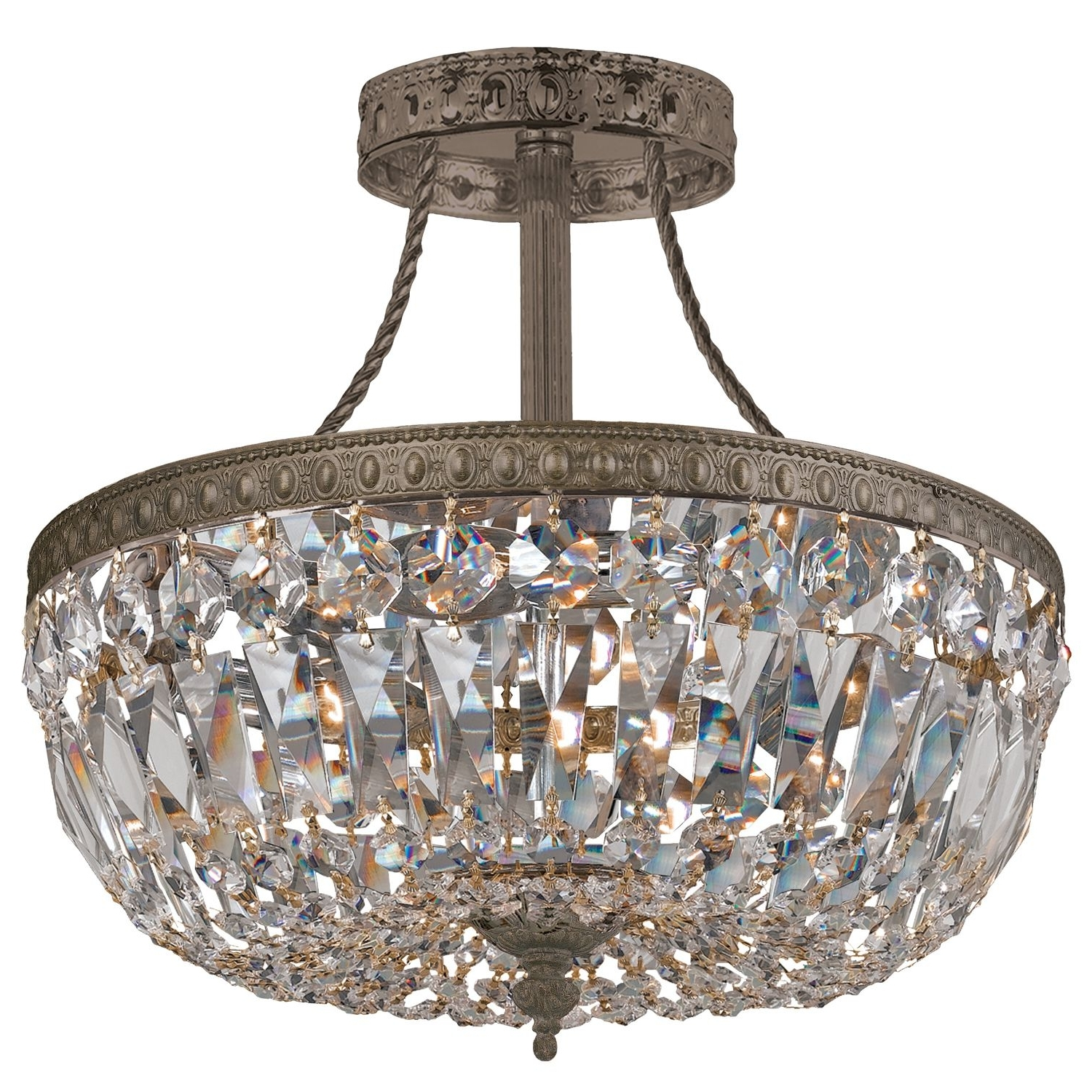 Traditional Crystal Antique Brass Semi Flush Ceiling Mount @sarah In Current 3 Light Crystal Chandeliers (View 19 of 20)