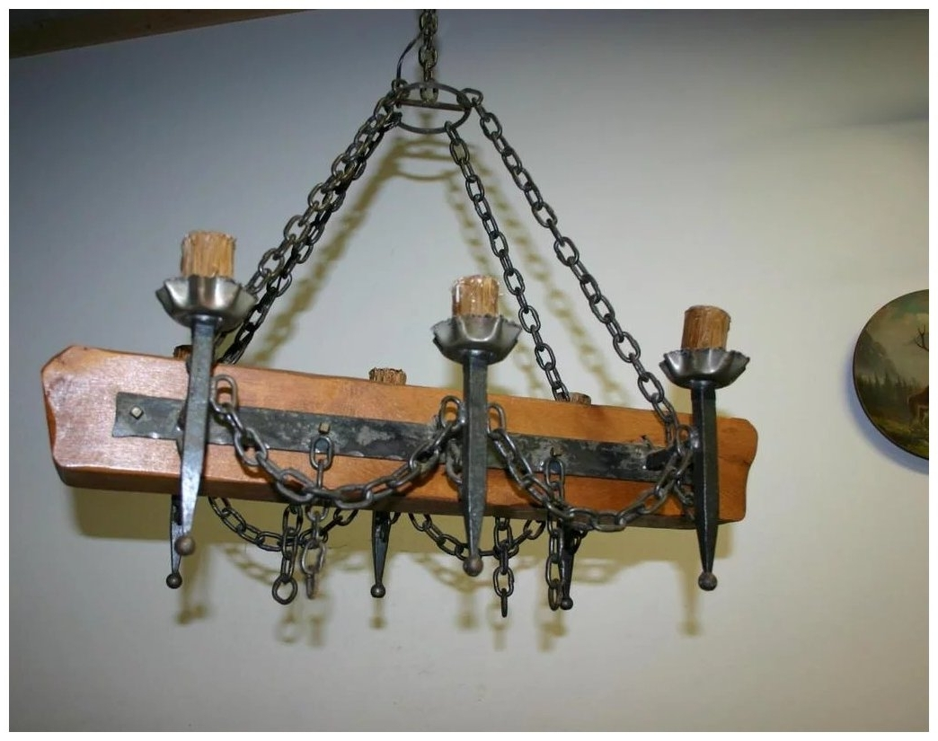 Trendy An Old French Wooden / Wrought Iron Castle Chandelier : Europe With French Wooden Chandelier (View 9 of 20)