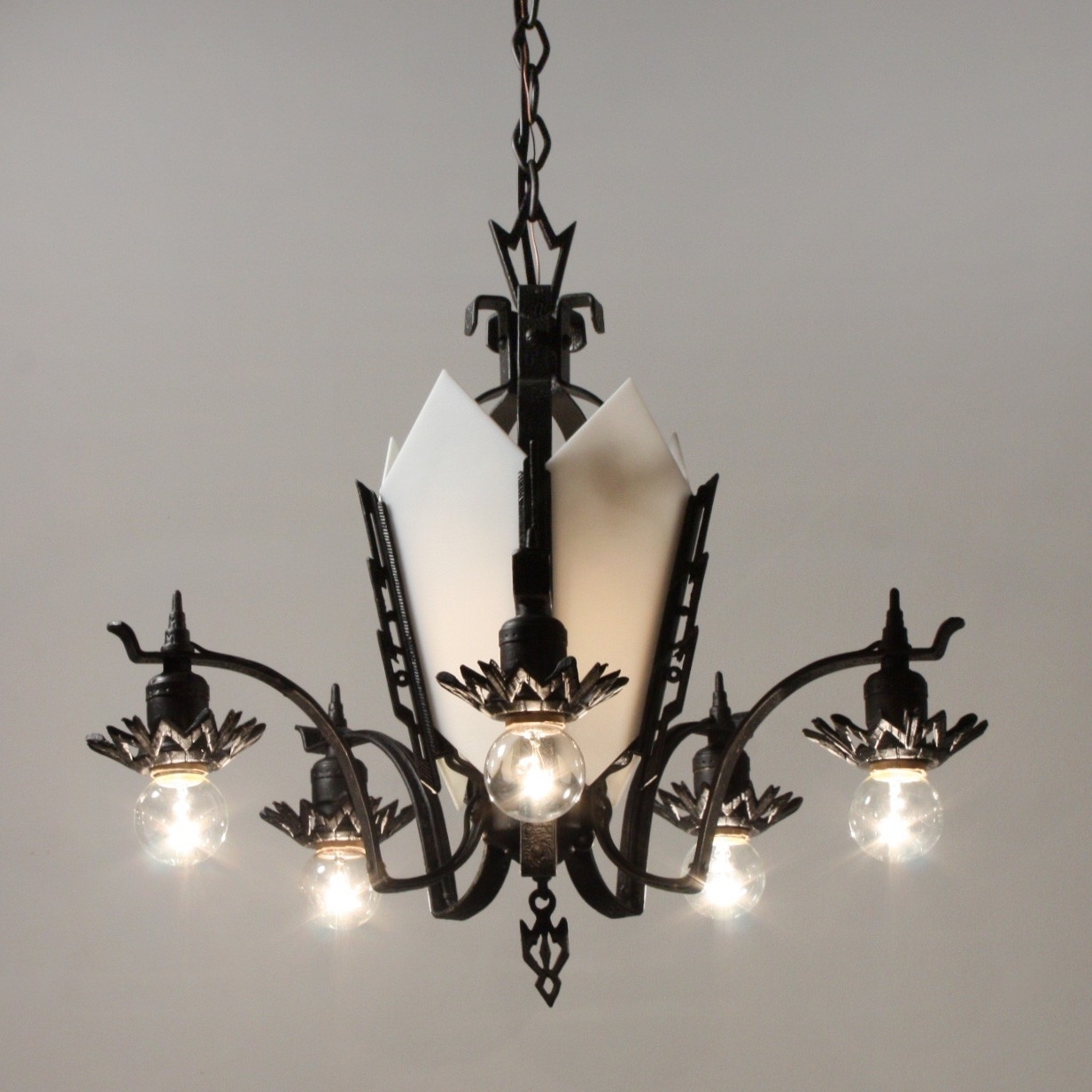 Trendy Antique Art Deco Cast Iron Chandelier, C (View 19 of 20)