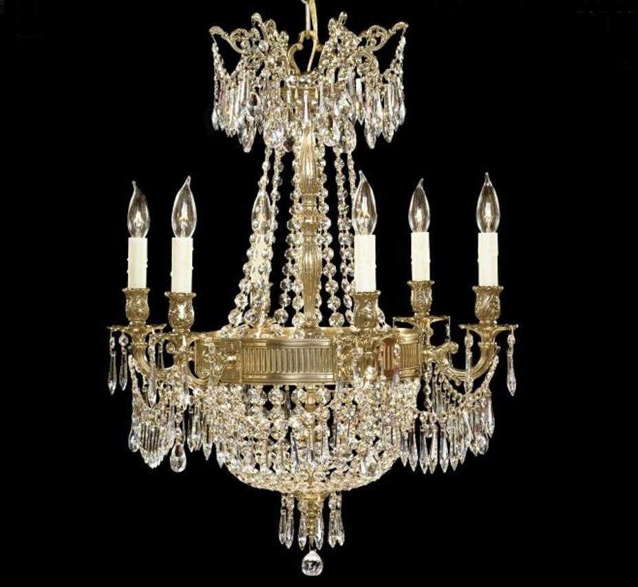 Trendy Brass And Crystal Chandeliers With Regard To Valencia Collection 6+3 Light Large Brass & Crystal Chandelier (View 18 of 20)