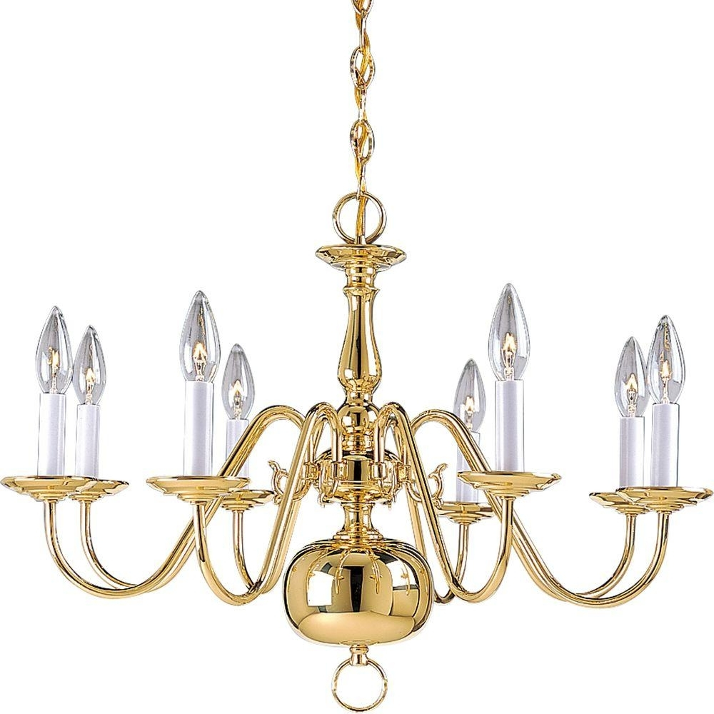 Trendy Brass – Chandeliers – Lighting – The Home Depot For Brass Chandeliers (View 9 of 20)
