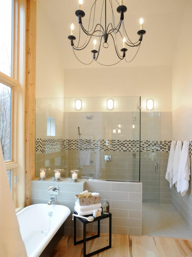 Trendy Chandelier ~ Bathrooms Design : Small Bathroom With White Bathtub With Chandelier Bathroom Lighting (View 2 of 20)
