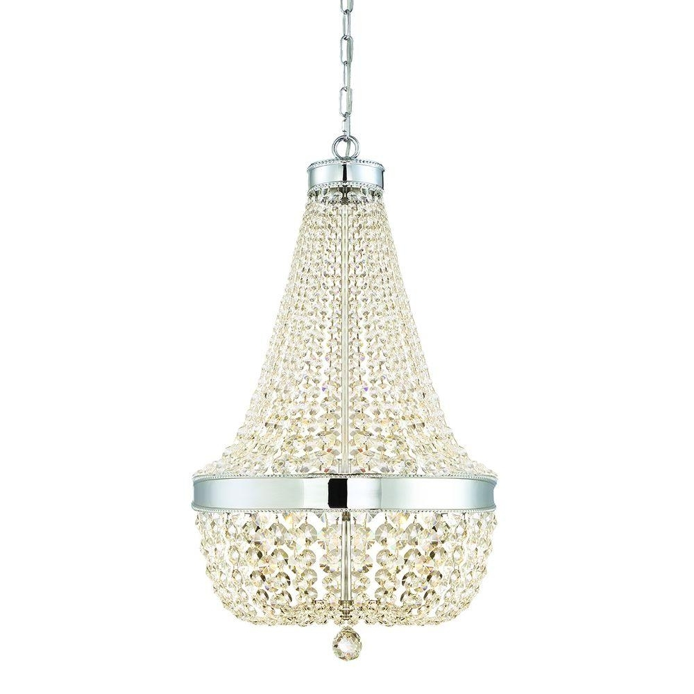 Trendy Chrome And Crystal Chandeliers Within Home Decorators Collection 6 Light Chrome Crystal Chandelier  (View 11 of 20)
