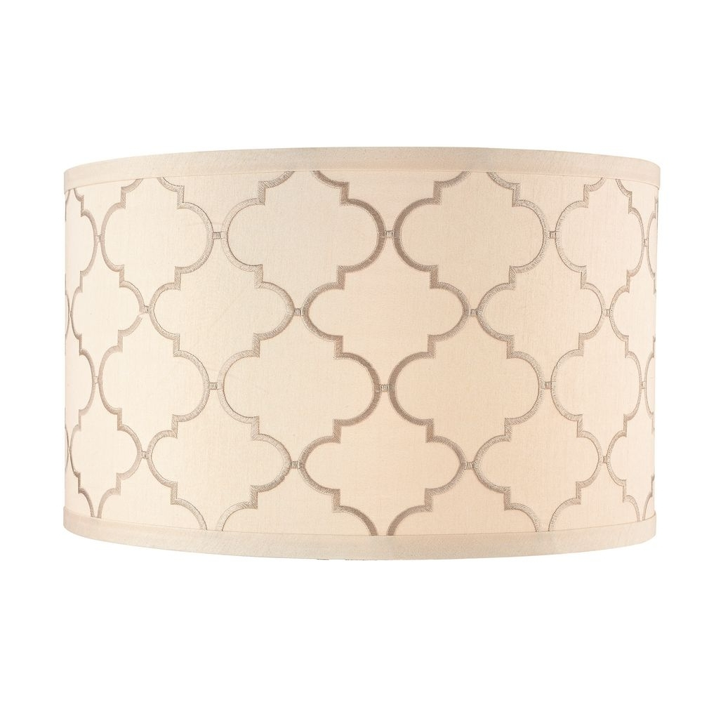 Trendy Cream Drum Lamp Shade With Marrakesh Pattern And Spider Assembly With Regard To Clip On Drum Chandelier Shades (View 18 of 20)
