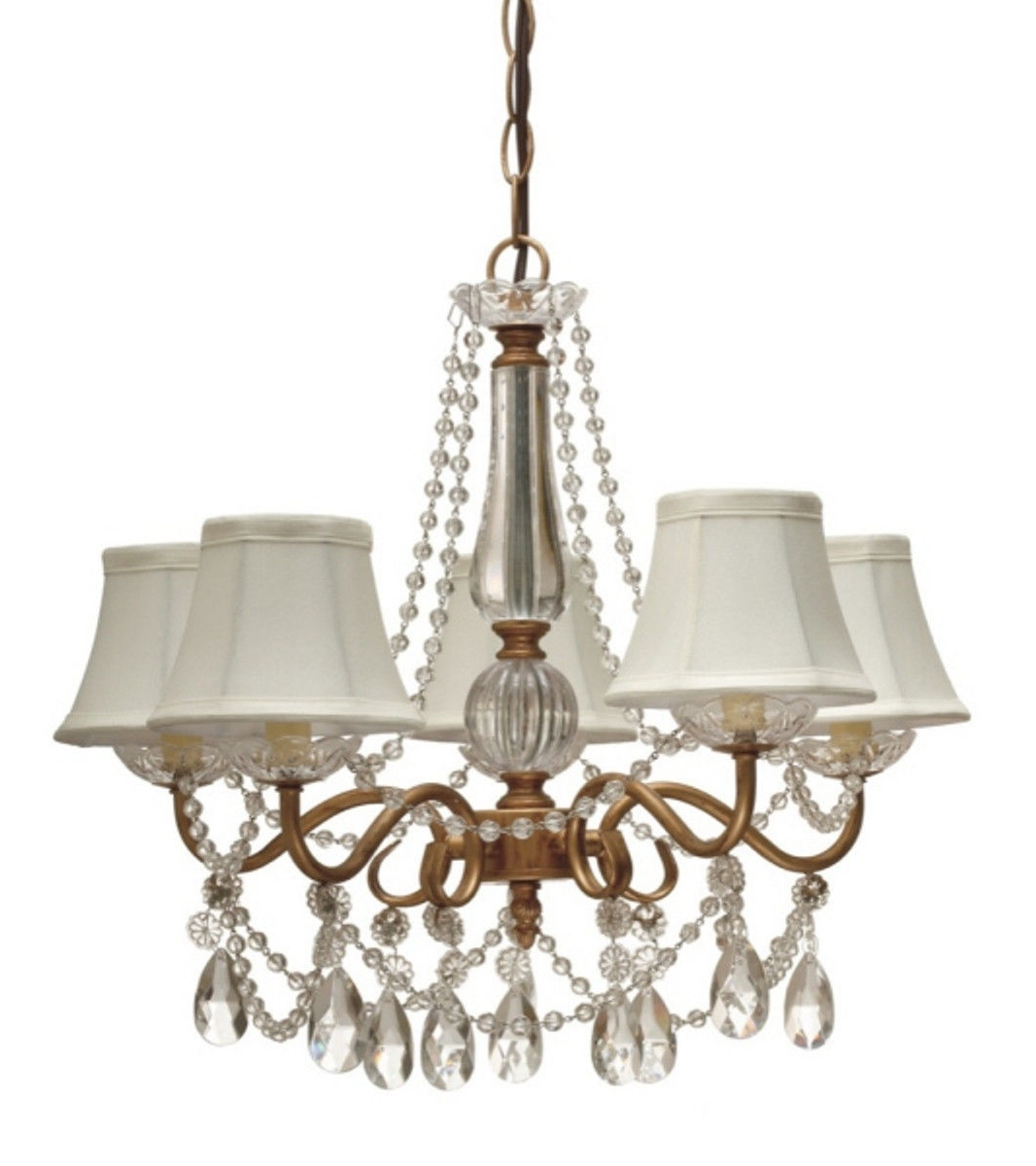 Trendy Crystal Gold Chandeliers Regarding Gold Arm & Crystals Chandelier 5 Silk Shades (View 16 of 20)