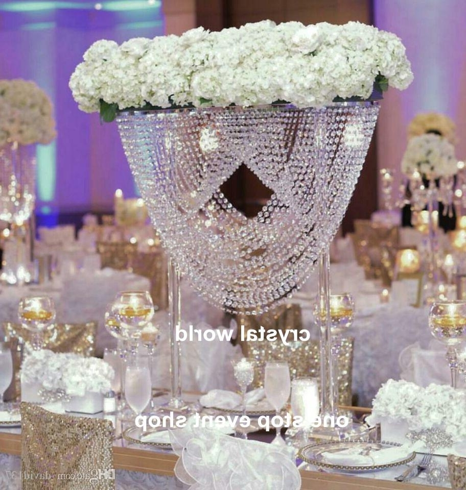 Trendy Faux Crystal Chandelier Centerpieces With Regard To Luxury Elegant Crystal Tall Flower Stand For Wedding Table Decor (View 17 of 20)