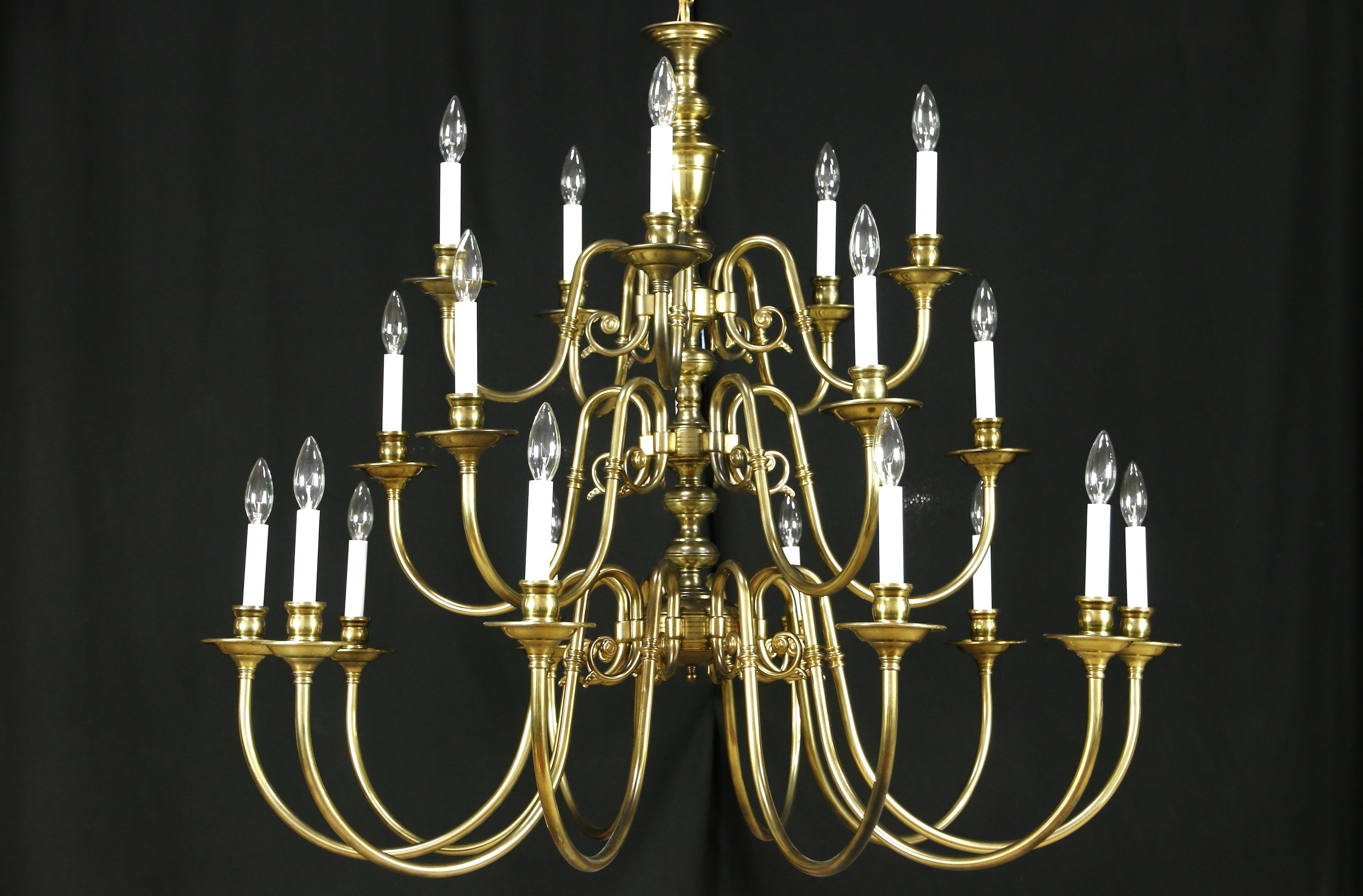 Trendy Georgian Chandeliers For Georgian Style Chandelier, Vintage 3 Tier Patinated Brass, (View 17 of 20)