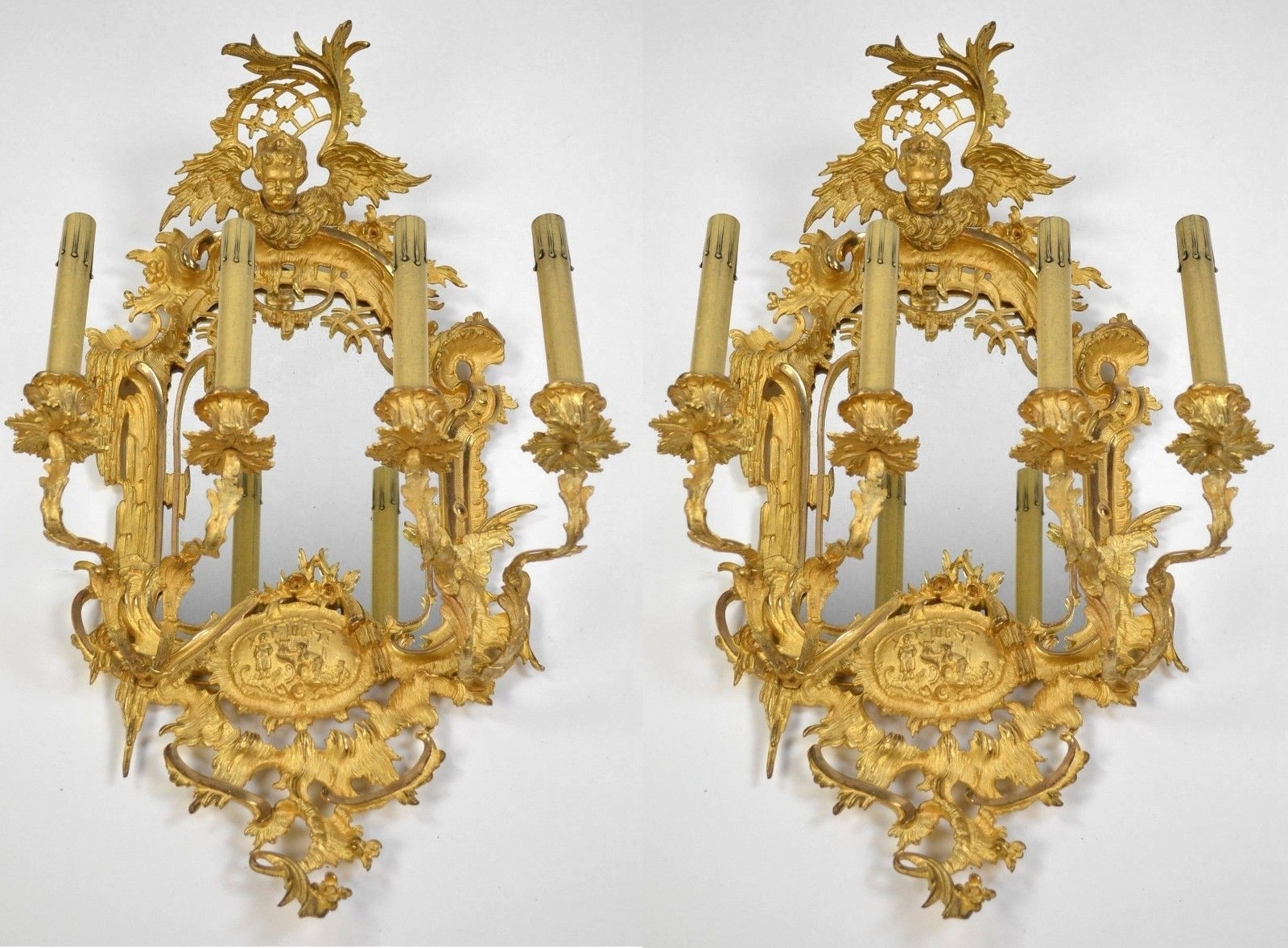 Trendy Large Pair French Rococo Mirrored Sconces C1880 Ornate Antique Wall Inside Ornate Chandeliers (View 20 of 20)