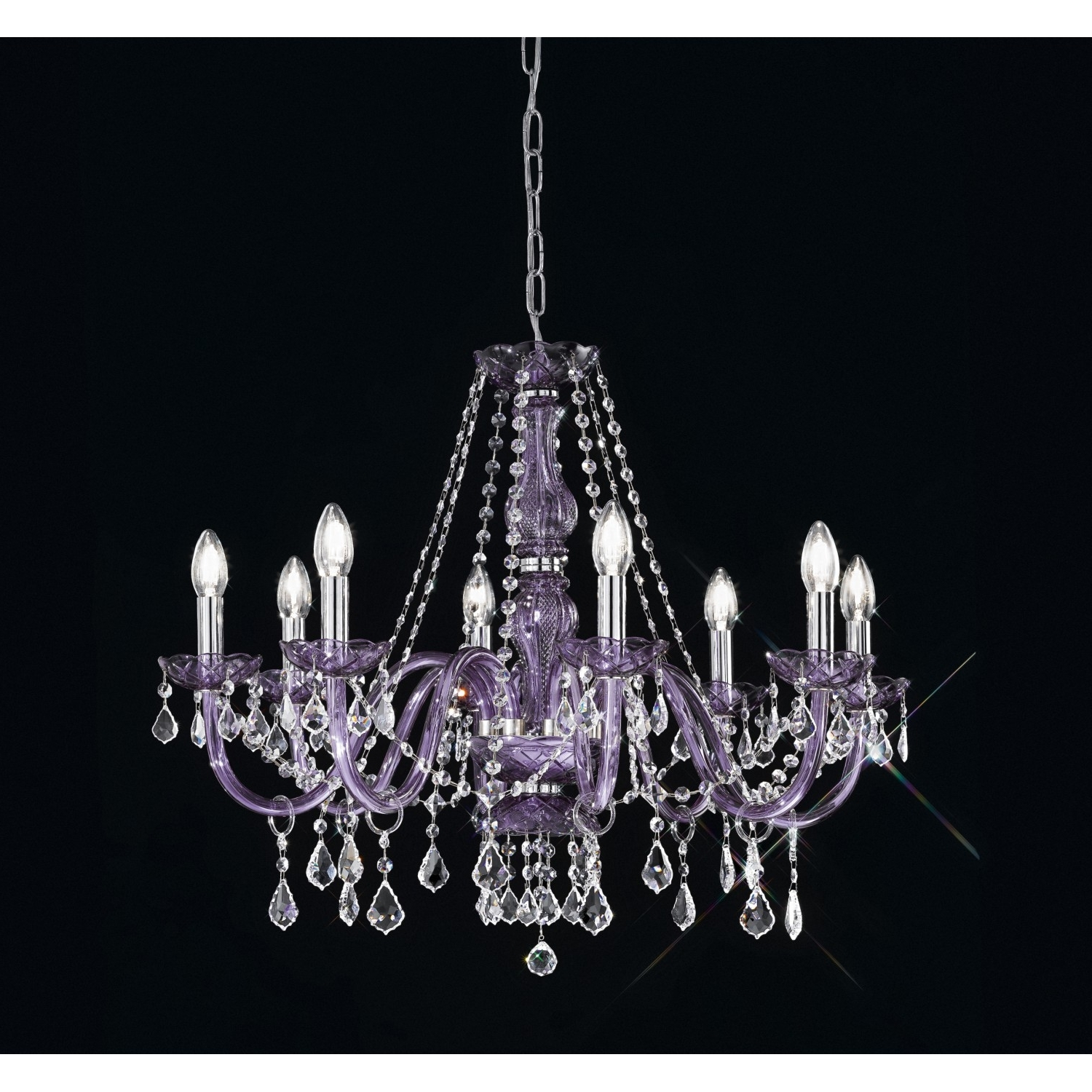 Trendy Lead Crystal Chandelier With Regard To Lead Crystal Chandelier 454/8/cr/mc Viola – Artital Lighting & Home (View 19 of 20)