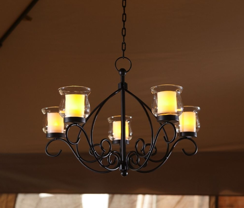 Trendy Led Candle Chandeliers Within Outdoor Hanging Candle Chandelier Gazebo Backyard Patio Votive Light (View 12 of 20)