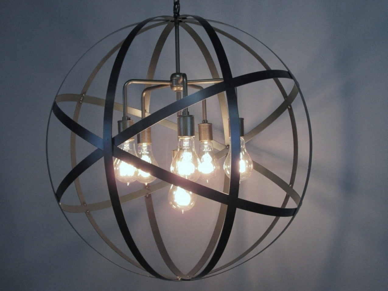 Trendy Orb Chandeliers For Accessories: Globe Metal Design Orb Chandelier With Lights Bulb (View 16 of 20)