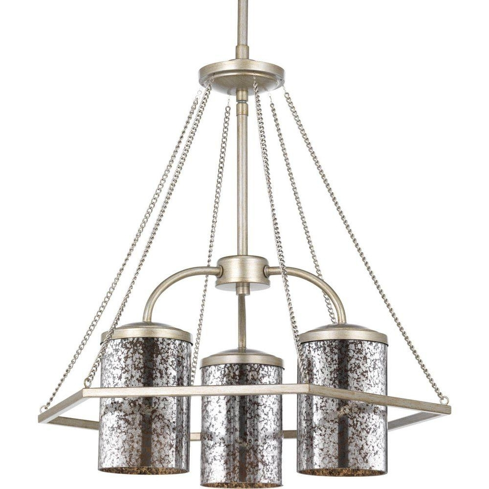 Trendy Progress Lighting Indi Collection 3 Light Silver Ridge Chandelier With Mirrored Chandelier (View 18 of 20)