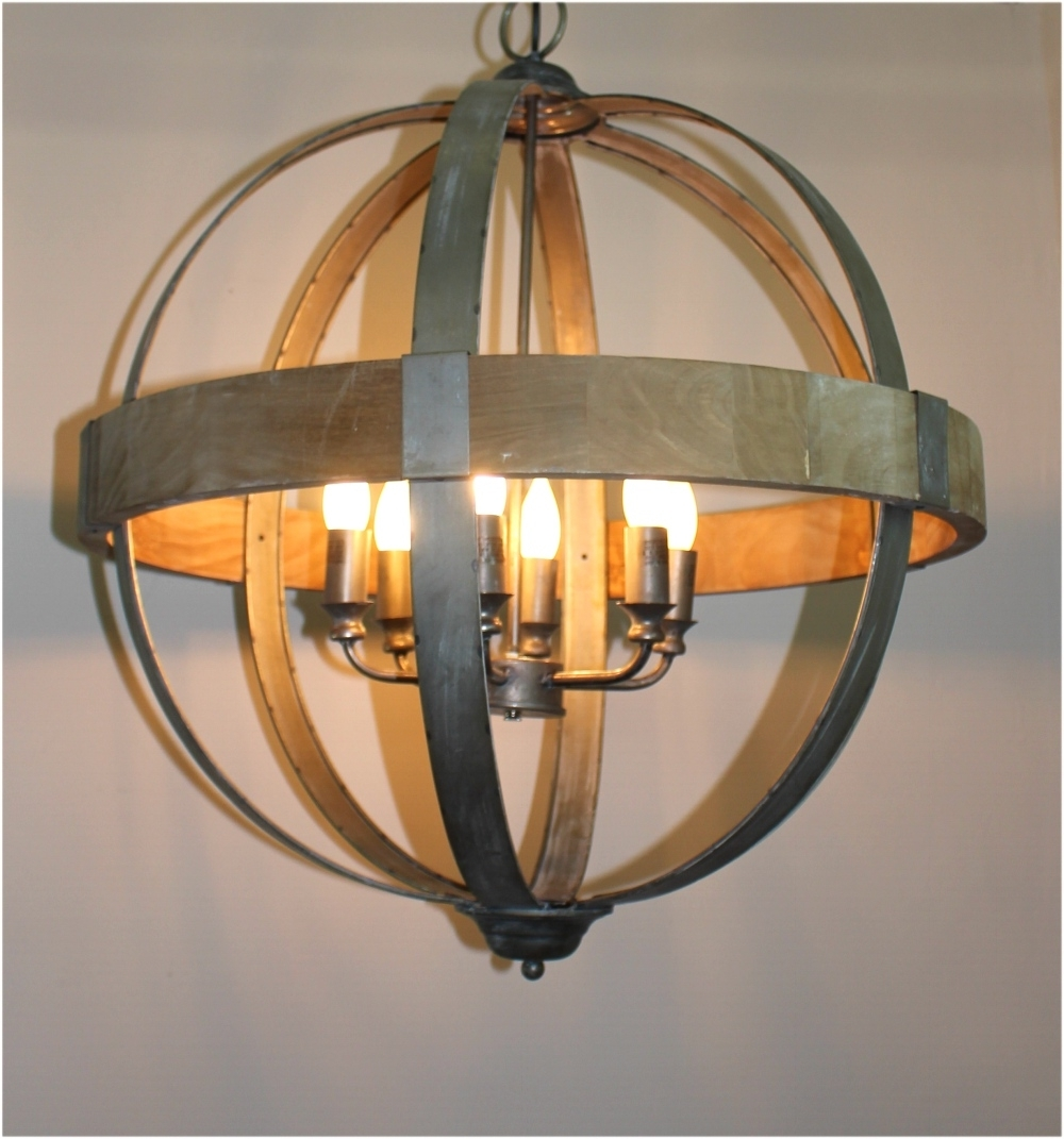 Trendy Round Ball Shaped Metal And Wood Chandelier W Pendant Light In For Metal Ball Chandeliers (View 5 of 20)