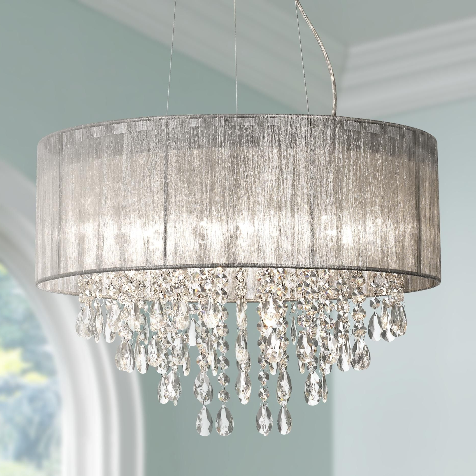 """Trendy Silver Chandeliers Inside Possini Euro Metairie 20""""w Silver Fabric Crystal Chandelier (View 17 of 20)"""