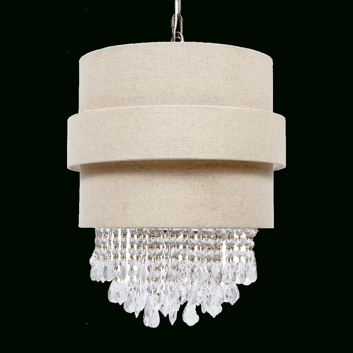 Trendy Unique Kathryn Beige Linen And Crystal Chandelierold World Design Within Linen Chandeliers (View 18 of 20)
