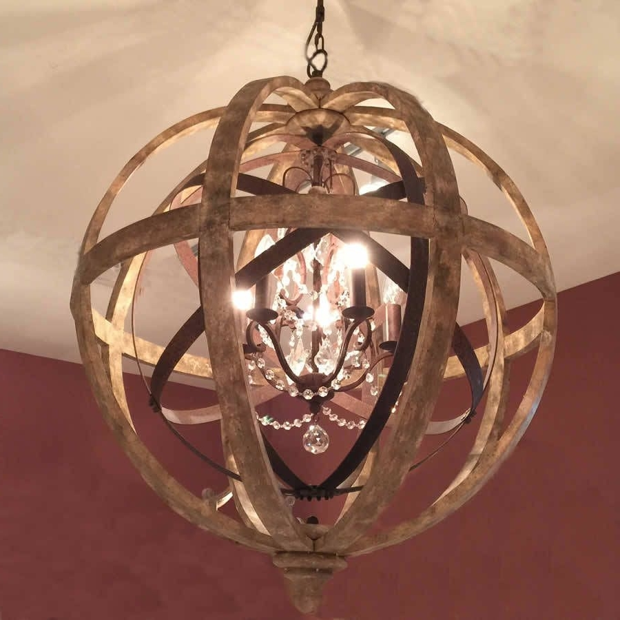 Trendy Wooden Orb Chandelier Metal Orb Detail And Crystal (View 17 of 20)