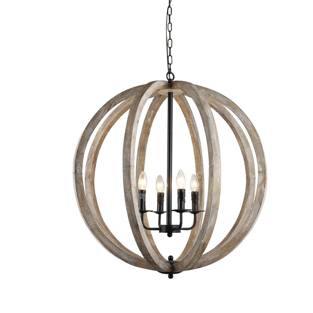 Trendy Y Decor Capoli 4 Light Wooden Orb Neutral Chandelier Lz1174 4 – The Intended For Orb Chandeliers (View 18 of 20)
