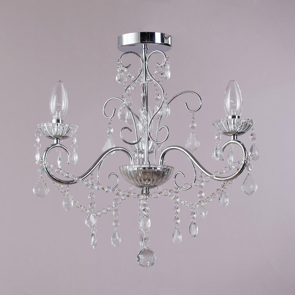 Vara 3 Light Bathroom Chandelier – Chrome From Litecraft Throughout Preferred Chandelier For Low Ceiling (Gallery 11 of 20)