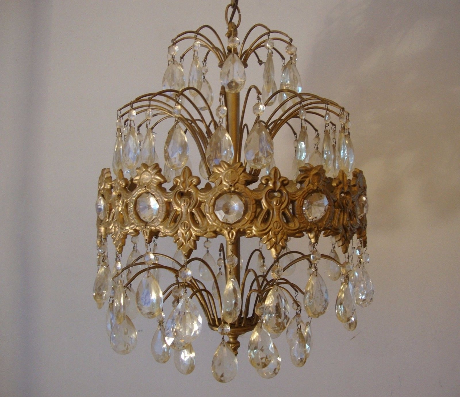 Vintage Crystal Prism Waterfall Chandelier – 6 Tier 6 Lights In Widely Used Antique Looking Chandeliers (View 19 of 20)