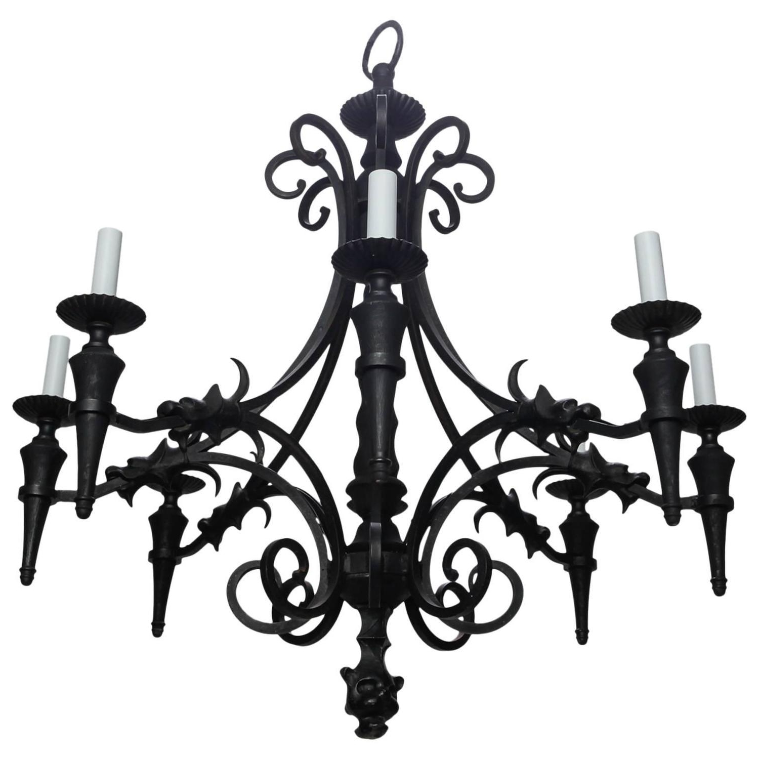 Vintage Gothic Style Spanish Iron And Wood Eight Arm Chandelier Intended For Widely Used Antique Style Chandeliers (Gallery 12 of 20)