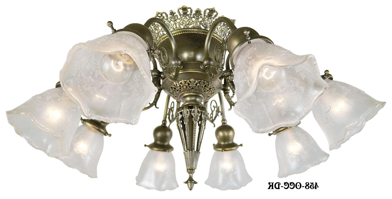 Vintage Hardware & Lighting – 8 Light Pierced Brass Short Ceiling Within Most Current Short Chandelier Lights (View 15 of 20)