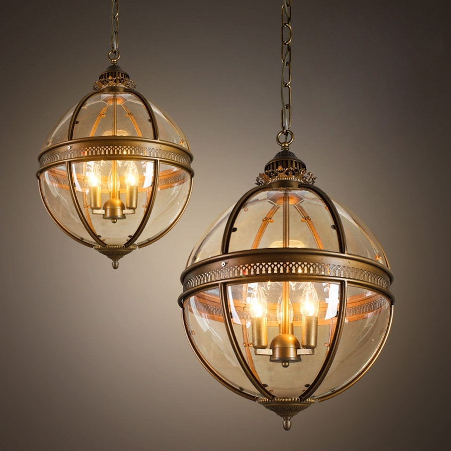Vintage Loft Globe Pendant Light Wrought Iron Glass Lampshade Intended For Popular Globe Chandeliers (Gallery 2 of 20)