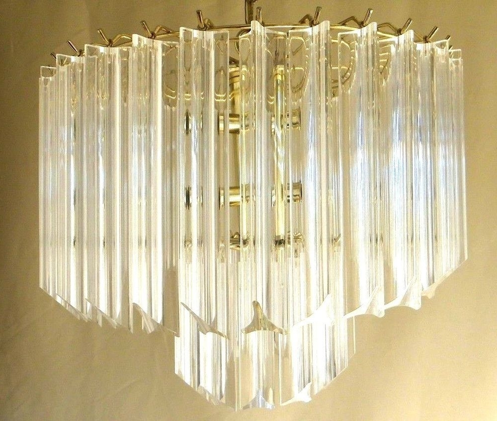 Vintage Mid Century Modern Lucite Acrylic Chandelier 2 Tier Wedding Within Widely Used Acrylic Chandeliers (Gallery 10 of 20)
