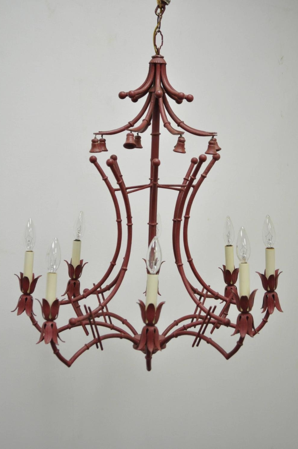 Vintage Red Italian Faux Bamboo Chinese Chippendale Style Tole Pertaining To Well Known Italian Chandelier Style (View 20 of 20)