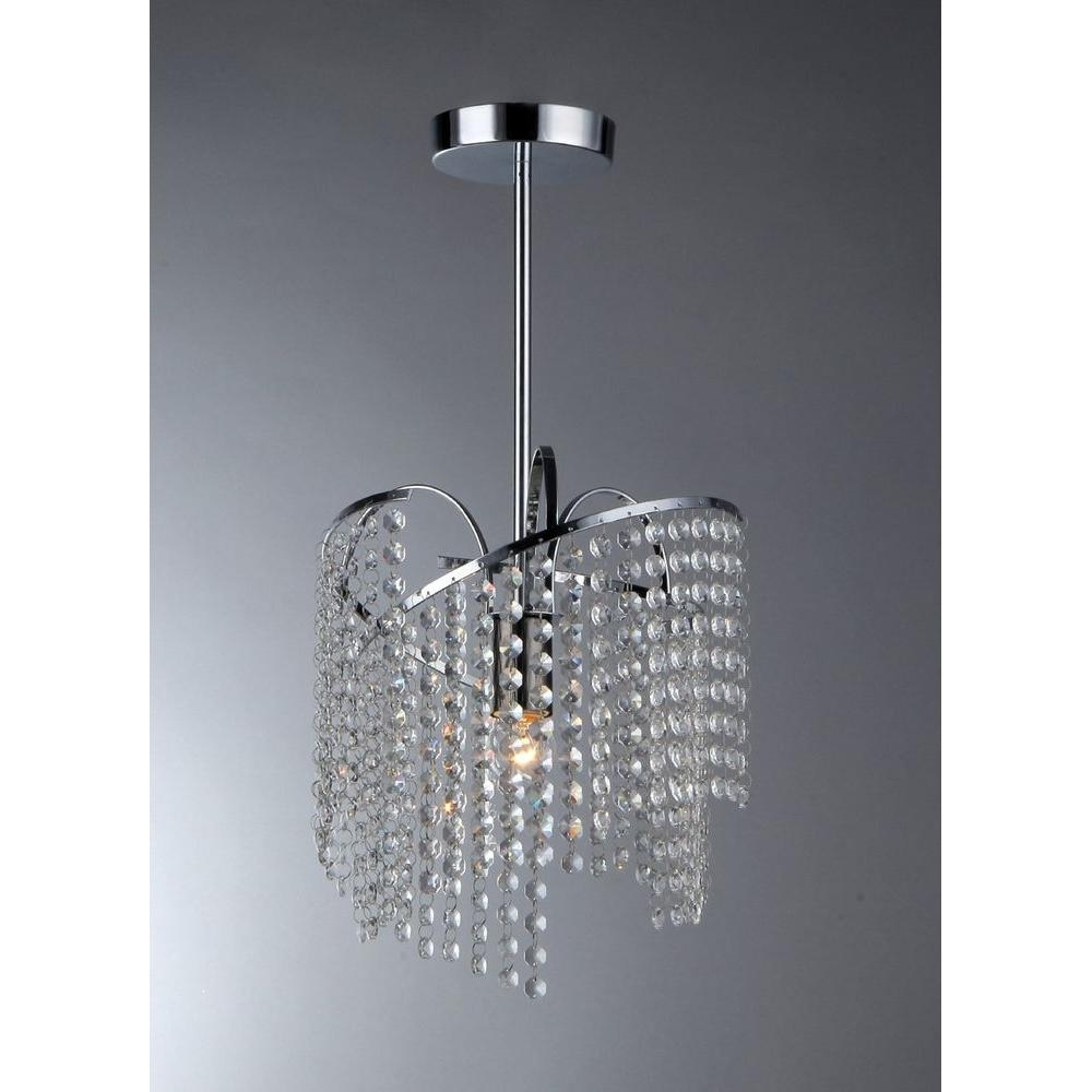 Warehouse Of Tiffany Ann 1 Light Crystal Chrome Chandelier With Throughout Trendy Chrome And Glass Chandeliers (View 17 of 20)