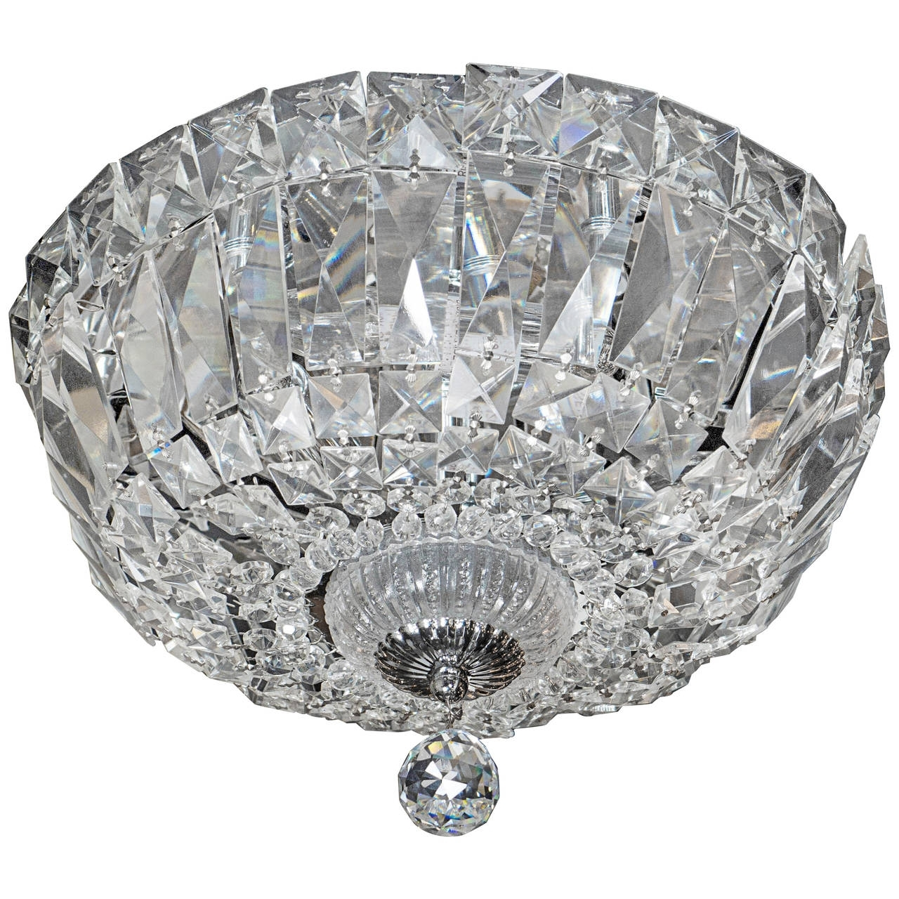 Well Known 1940's Hollywood Cut Crystal Drop Down Flush Mount Chandelier For Throughout Flush Chandelier (View 19 of 20)
