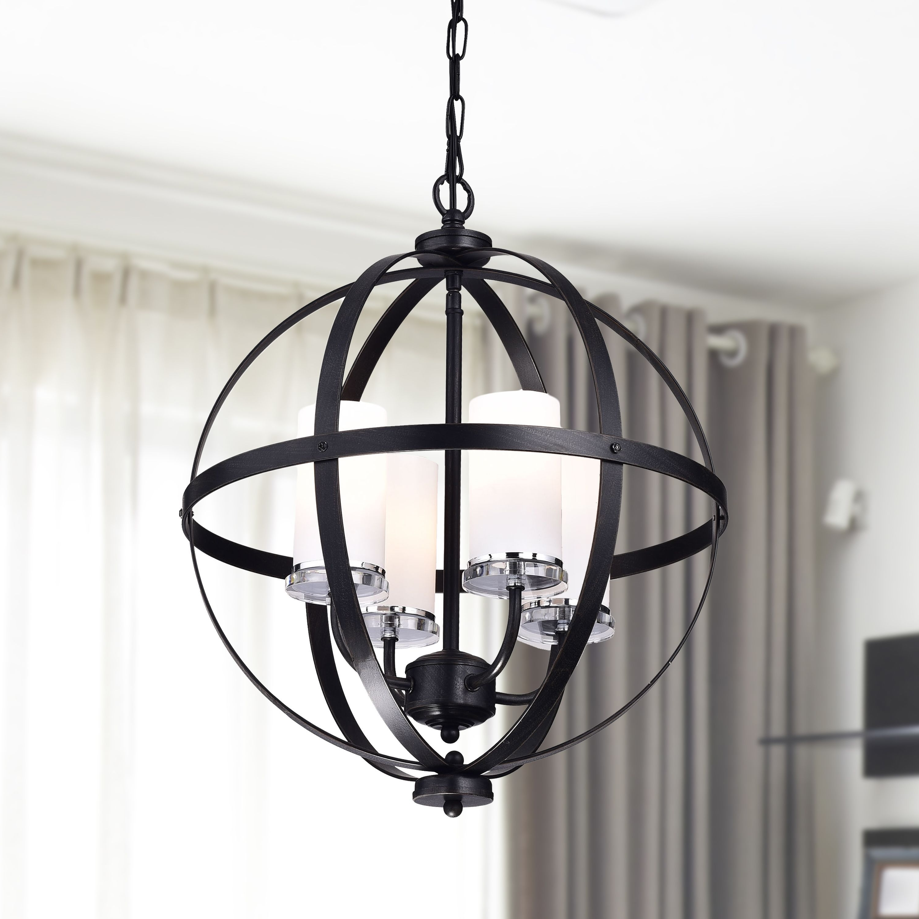 Well Known Antique Black Chandelier Intended For Benita Antique Black Iron Orb Chandelier With Glass Globe (Antique (View 8 of 20)