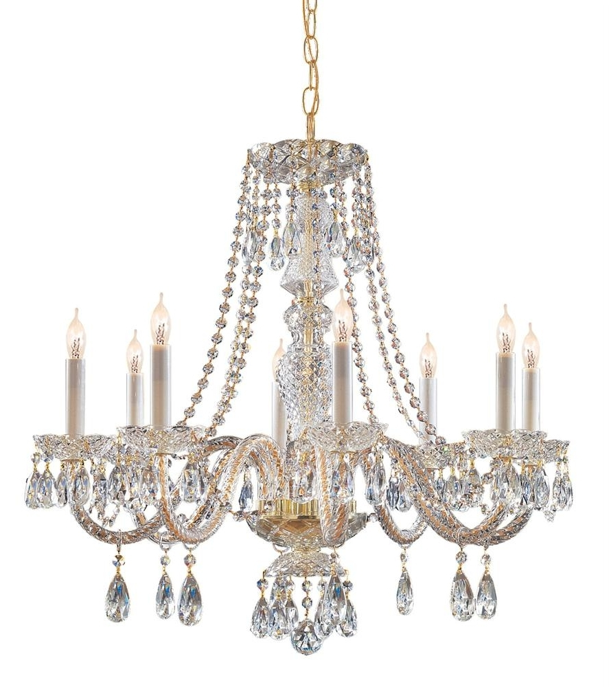 Well Known Brass And Crystal Chandelier Inside Buy 10 Lights Polished Brass Crystal Chandelier (View 14 of 20)