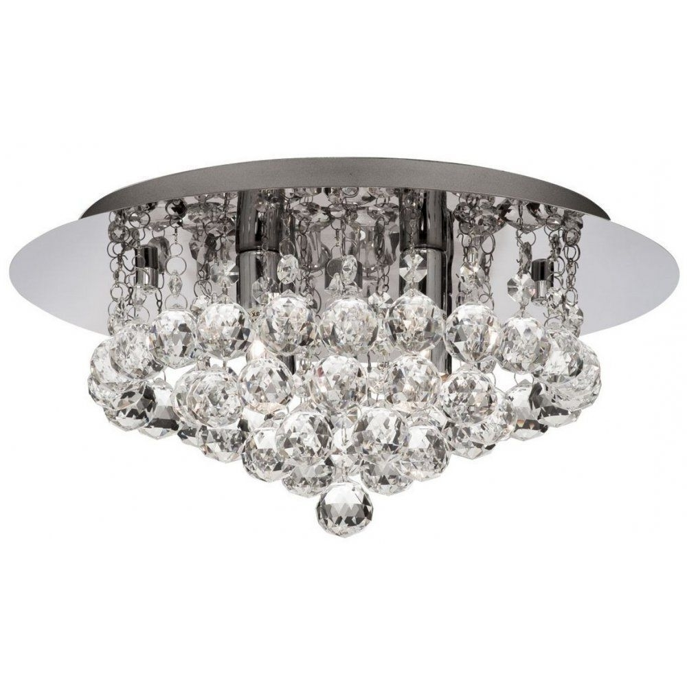 Well Known Chandelier Bathroom Ceiling Lights For Searchlight 4404 4cc Hanna Modern Crystal Flush Bathroom Ceiling (View 2 of 20)